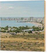 Panoramic View At The Salinas Beaches In Ecuador Wood Print