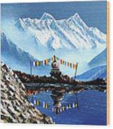 Panoramic View Of Annapurna Mountain Nepal Wood Print