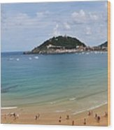 Panoramic View Of Beautiful Beach, San Sebastian, Spain  Wood Print