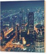 Panoramic View Of Dubai City Wood Print