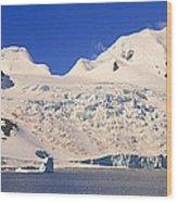 Panoramic View Of Glaciers And Iceberg Wood Print