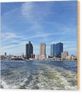 Panoramic View Of Kaohsiung City Waterfront Wood Print