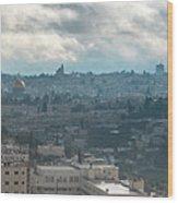 Panoramic View Of Old Jerusalem City Wood Print