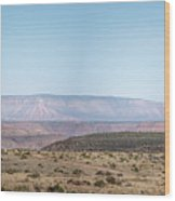 Panoramic View Of Open Desert Field In Nevada With Grand Canyon  Wood Print