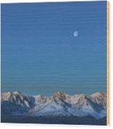 Panoramic View Of Plain At Root Of Mountains At Summer Night  Wood Print