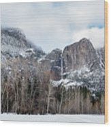 Panoramic View Of Snowed Peaks In Yosemite Park With Snow On The Wood Print