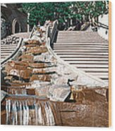 Panoramic View Of Stairs And Waterfall Wood Print