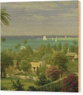 Panoramic View Of The Harbour At Nassau In The Bahamas Wood Print by Albert Bierstadt