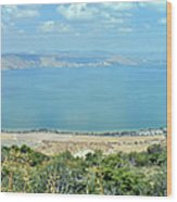 Panoramic View Of The Sea Of Galilee Wood Print