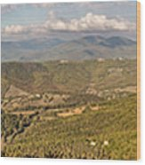 Panoramic View Of Umbrian Hills In Italy Taken From Preggio Wood Print