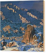 Panoramic Winter In The Alabama Hills Eastern Sierras California Wood Print