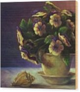 Pansies And Celadon Wood Print