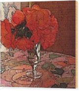 Pansies And Mosian Table Wood Print