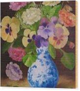 Pansies And Ranunculus Wood Print
