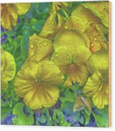 Pansies - Coloring Book Effect Wood Print