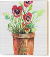 Pansies In A Clay Pot Wood Print