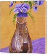 Pansies In Brown Vase Wood Print by Jamie Frier