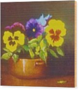 Pansies In Copper Bowl Wood Print
