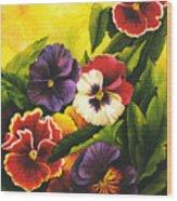 Pansies Or Vuela Mis Pensamientos Wood Print