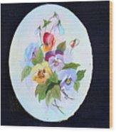 Pansies Posing Wood Print by Alanna Hug-McAnnally