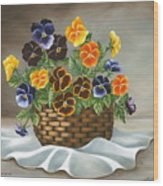 Pansy Basket Wood Print