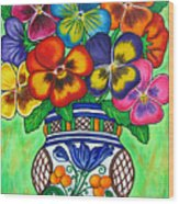 Pansy Parade Wood Print