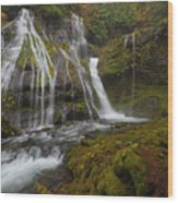 Panther Creek Falls In Autumn Wood Print