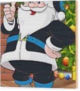Panthers Santa Claus Wood Print