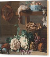 Pantry With Artichokes Cauliflowers And A Basket Of Mushrooms Wood Print