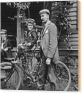 Papa With Charles On Bicycle, Fred On Porch Wood Print
