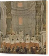 Papal Ceremony In St Peter In Rome Under The Canopy Of Bernini Wood Print