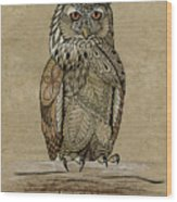 Paper Bag Owl Wood Print