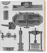 Paper Mill Diagram, 1814 Wood Print
