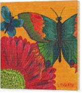 Papillon Jaune Wood Print