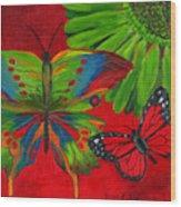 Papillon Rouge Wood Print