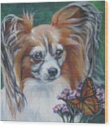 Papillon With Monarch Wood Print
