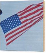 Parachute And Flag Wood Print