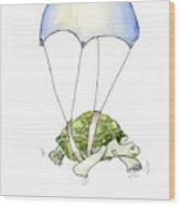Parachute Turtle Wood Print