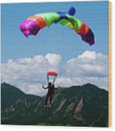 Parachuting Wood Print
