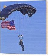 Parachutist Wood Print