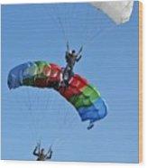 Parachutists Biplane Wood Print