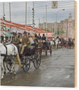 Parade Of Horse Drawn Carriages On Antonio Bienvenida Street Wit Wood Print