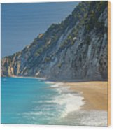 Paradise Beach With Blue Waters Wood Print