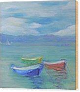 Paradise Island Boats Wood Print