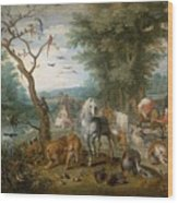 Paradise Landscape With Animals Wood Print