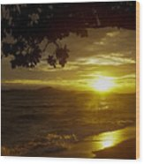 Paradise Lensflare Beach Sunset #9412 Wood Print