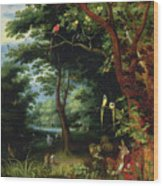 Paradise Scene With Adam And Eve Wood Print