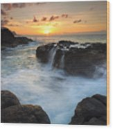 Paradise Sunset Splash Wood Print