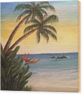Paradise With Dolphins Wood Print