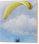 Paraglider Floating In The Clouds Wood Print